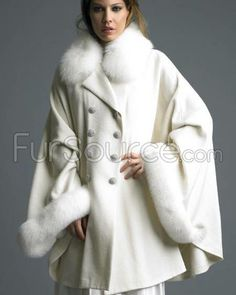Cashmere Double Breasted Cape with Fox Trim & Swarovski Crystals