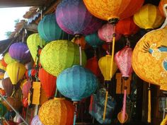 SOME OF THE MANY COLOURED LANTERNS FOR SALE - Hoi An