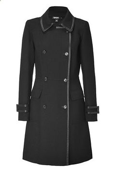 DNKY Black Leather Trimmed Trench Coat