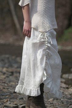 farmy chic --long romantic skirt!.... you could do this to any loose circle skirt... add ruffles and a bustle tie up