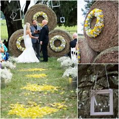 Yellow Rose Petals Down Aisle and County Themed Hay Alter Decorations