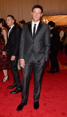 """""""Glee"""" hottie Cory Monteith stuns in a gray suit on the red carpet of the MET Gala in NYC. See full gallery here: http://bit.ly/ISkhB2 MARRY ME?"""