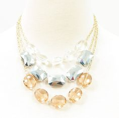COLOR CRYSTAL STONES DETAILED GOLD CHAIN NECKLACE