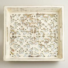 One of my favorite discoveries at WorldMarket.com: Mirrored Laser-Cut Tray