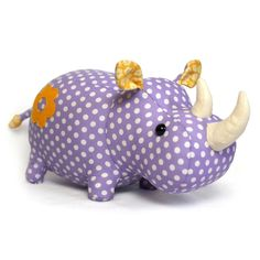 The Rhino Plush Animal Sewing Kit is a soft toy pattern & fabric kit from DIY Fluffies.  The recommended skill level for this kit is Intermediate.  Kit includes cotton fabrics in 3 colors, felt in 1 color, batting, eyes, pattern, and detailed instructions.  Your finished plush rhino will be approx. 16 inches long.  Use the pattern again to create additional soft toys for family & friends.