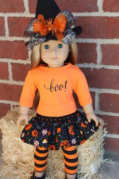 Halloween costume for your 18 inch doll, AG doll clothes for Halloween, 4 piece Halloween outfit by GrandmasDollCloset on Etsy