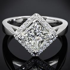 Princess Cut #Diamond Halo Engagement #Ring. http://jangmijewelry.com/