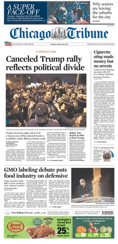 #20160313 #USA #CHICAGO #ILLINOIS Sunday MAR 13 2016 #ChicagoTribune http://www.newseum.org/todaysfrontpages/?tfp_show=80&tfp_page=2&tfp_id=IL_CT