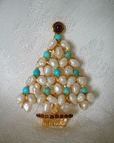 CLASSIC SWOBODA CHRISTMAS TREE PIN BROOCH  ~ FW PEARL, TURQUOISE, GARNET #ChristmasTreePin