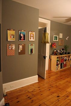 Agree with my girl Sarah this wall color is terrific. Love the clipboard idea too. Displaying Kids Artwork, Living Styles, Wall Treatments, Grey Walls, Household Items, Wall Colors, Home Accents, Gallery Wall, Clipboards