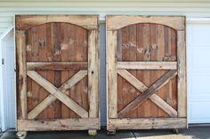 building of barn doors from old barn flooring