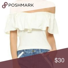 FREE PEOPLE Off The Shoulder Top Ivory/ white off the shoulder ruffle free people top. Size medium, never worn, tags on it Free People Tops Blouses