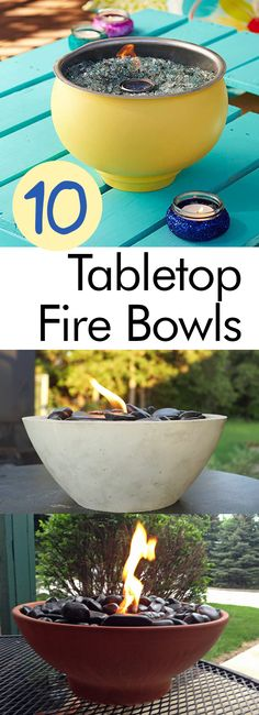 Make your own tabletop fire bowl with a few tabletop fire bowl DIY projects! They're easy to make and they look great!