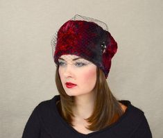 9ba62bdb Black and Red Faux Fur Winter Hat with Black Birdcage veil and Gorgeous  Swarovski Detail RUBINA