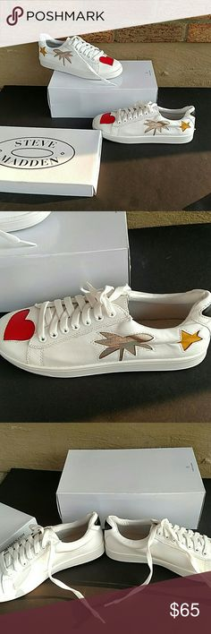 b1470a4c6311 Embellished Sneaker White Sneakers with adorable patchwork like design.  These shoes feature hearts