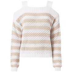 Autumn Cashmere Women's Mesh Cold Shoulder Striped Sweater ($198) ❤ liked on Polyvore featuring tops, sweaters, mesh long sleeve top, cut out shoulder sweater, white cold shoulder top, white sweater and cold shoulder tops