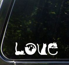 "Amazon.com: Cats Spell LOVE - Car Vinyl Decal Sticker - (6""w x 2""h) Copyright © Yadda-Yadda Design Co.: Automotive"