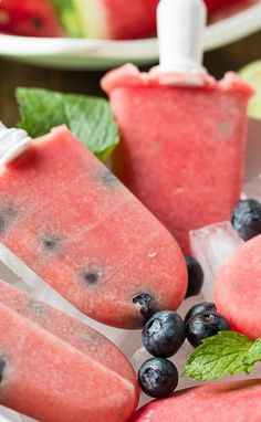 Watermelon-Mint Popsicles with Blueberries- perfect for cooling off on the 4th of July