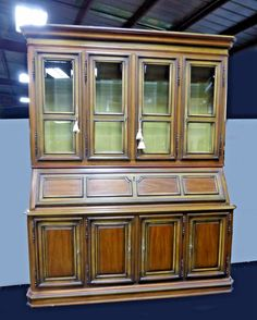 Vintage u002775 DREXEL CHINA Hutch Library Cabinet with Drop Leaf DESK #FrenchCountryProvincial #Drexel & Vintage SPANISH Revival Rustic CHINA CABINET Bookcase Buffet Curio ...