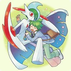 b97d0fcc5bb  d     arm blade bag cape closed eyes gallade green hair horns hug ikra  (katacoly) jewelry mega gallade mega pokemon mitsuru (pokemon) necklace  open mouth ...