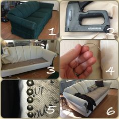 used was 7 yards of 60 in wide colored denim, staple gun, burlap, decorative furniture nails, a fleece blanket to cover the cushions, thread and a curved needle.