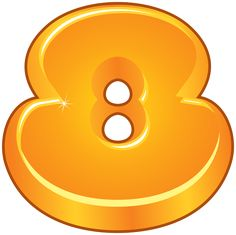 Orange Cartoon Number Eight PNG Clipart Image