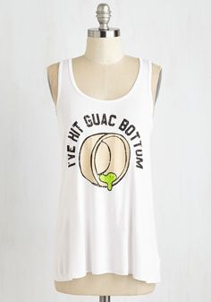 Holy Guacamole! Top - Mid-length, White, Novelty Print, Casual, Food, Sayings, Summer, Good, Scoop, Jersey, Knit