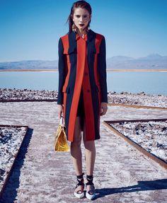 Stripes: Romy Schonberger by Nathaniel Goldberg for Harper's Bazaar US March 2016 - Dior Spring 2016