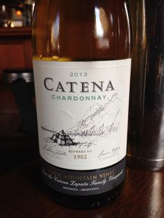 2013 Catena Chardonnay - Light straw yellow with an intensely tropically fruity nose. Medium body, smooth with fruit and touches of oak on the palate. 20% New oak; 80% used.