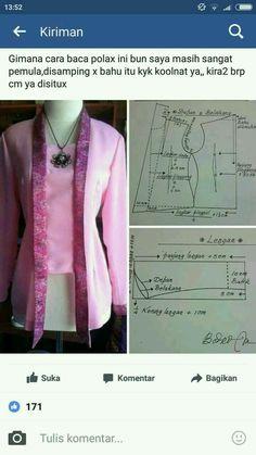 Batik Fashion, Fashion Sewing, Pola Kebaya Kutubaru, Blouse Patterns, Clothing Patterns, Mode Batik, Modern Kebaya, Batik Kebaya, Sewing Blouses