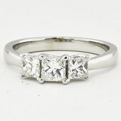 18K White Gold Three Stone Princess Diamond Trellis Ring Set with a 0.34 Carat, Princess, Ideal Cut, E Color, VS2 Clarity Diamond