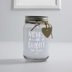 Personalised White Glass Jar With Led Lights - Merry & Bright