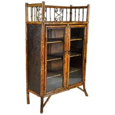 Late 19th Century English Bamboo Lacquered Glass Doored Bookcase