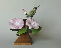 Hummingbird Wood Carving with Morning Glory by TurtleMtnArtistry