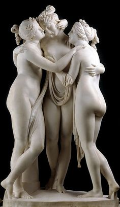 The Three Graces --- The ancient Greeks saw the world in terms of darkness and light, so white was a fundamental color. According to Pliny the Elder in his Natural History, Apelles (4th century BC) and the other famous painters of ancient Greece used only four colors in their paintings; white, red, yellow and black. #THEDRESLYN