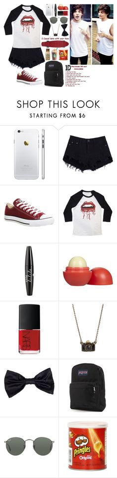 """""""2. Casual date with your fave"""" by lukedos ❤ liked on Polyvore featuring Converse, NYX, Eos, NARS Cosmetics, American Apparel, JanSport and Ray-Ban"""