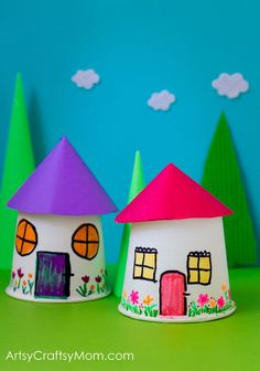 Paper Cup Miniature Village craft - Fun, Frugal and so easy to make a town paper display with young kids. Recycle K cups or paper cups - Fairy Crafts, Pretend Play, Toad Houses, Smurf crafts for kids Craft Projects For Kids, Crafts For Kids To Make, Kids Crafts, Art For Kids, Craft Kids, K Cup Crafts, Paper Cup Crafts, Paper Cups, Paper Paper
