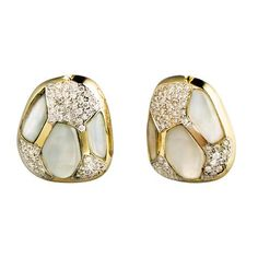 Mosaic Stud Earrings with Rainbow Moonstone and Diamonds by Kara Ross New York
