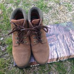 Timberland brown boots Gently used condition shows wear. One of the insoles is coming undone can easily be fixed, it also shows marking where the laces are as shown on pics. Does not include box Timberland Shoes