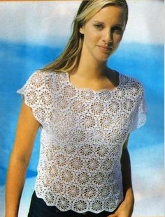 Esquemas | CTejidas: Blusa Blanca Tapetes a Crochet