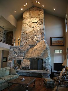 I want this is in my living room! Stone Fireplace Pictures, Stone Fireplace Designs, Stacked Stone Fireplaces, Rock Fireplaces, Indoor Fireplaces, Rumford Fireplace, Concrete Fireplace, Home Fireplace, Fireplace Stone