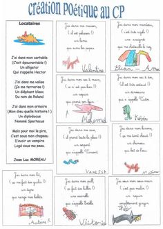 Création poétique CE1 French Classroom, A Classroom, French Teacher, Teaching French, French Education, Core French, French Resources, French Lessons, French Language
