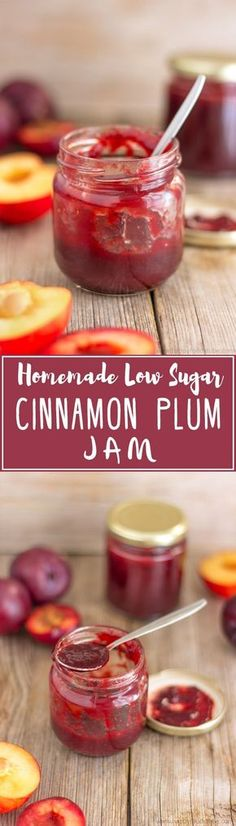 Homemade Low Sugar Cinnamon Plum Jam. Super Easy Jam Recipe. Only 3 Ingredients! | happyfoodstube.com
