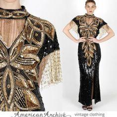 vtg 80s Blk Silk Sequin Maxi Dress Beaded Fringe Cocktail Party Deco Wedding L