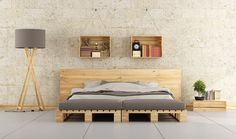This pallet bed frame is really something unique and modern in its style and shape --- 45 Easiest DIY Projects with Wood Pallets Wooden Pallet Beds, Diy Pallet Bed, Pallet Furniture, Pallet Ideas, Pallet Headboards, Pallet Projects, Diy Projects, Pallet Sofa, Door Headboards
