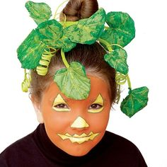 Pumpkin Face Costume - Total Time 1 hour Ages all-ages A few colorful brush strokes turn your child's face into a striking jack-o'-lantern.