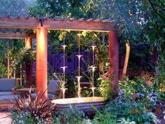 Gorgeous backyard landscape #fountain