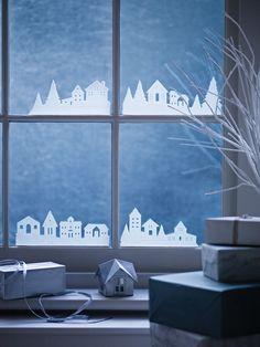 Siluetas casas y árboles para ventanas