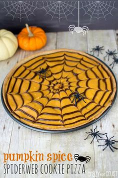 Pumpkin Spice Spiderweb Cookie Pizza | crazyforcrust.com