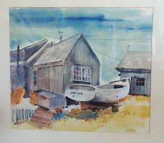 Vintage Original Water Color Painting Nautical SHIP Yard Signed w N Roy | eBay